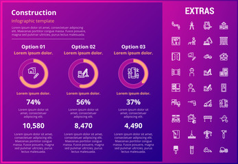 Construction infographic template, elements and icons. Infograph includes customizable graphs, three options, line icon set with construction worker, builder tools, repair person, house building etc.
