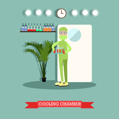 Cooling chamber concept vector illustration in flat style