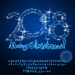 Vector Stars Greeting Card Merry Christmas. Neon set of Alphabet Letters, Numbers and Symbols.  Font contains Graphic style