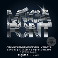 Vector Set of elegant Chrome Alphabet Letters, Numbers and Punctuation symbols. Font with Silver style.