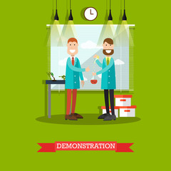 Test demonstration concept vector illustration in flat style