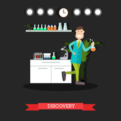 Scientific discovery concept vector flat illustration