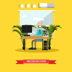 Microscope concept vector illustration in flat style