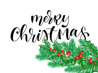 Merry Christmas holiday quote hand drawn text calligraphy lettering or background template of golden decoration on holly wreath decoration. Vector Christmas tree card white design