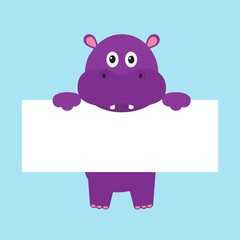 Funny hippo hippopotamus behemoth hanging on paper board template. Kawaii animal body. Cute cartoon character. Baby card. Flat design style. Blue background Isolated