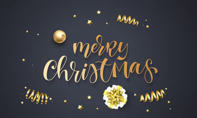 Merry Christmas greeting card template background of golden glitter confetti, gift box with gold ribbon bow. Vector winter holiday festive glittering star and ball for Christmas quote hand drawn text