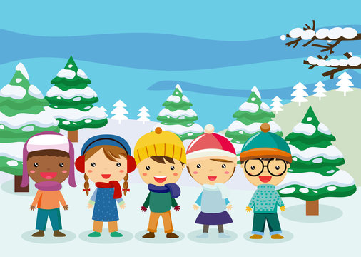 Group of winter children