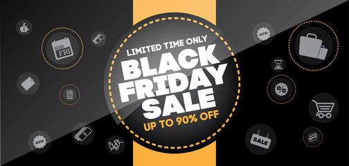 Black Friday sale inscription design template. Black Friday banner, layout design.