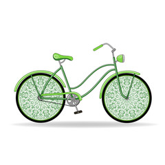 Vector illustration. Green vintage ladies bike with unusual delicate wheels.