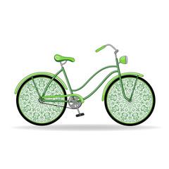 Vector illustration. Green vintage ladies bike with unusual delicate wheels.