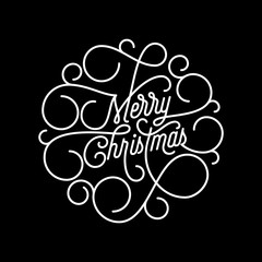 Merry Christmas flourish calligraphy lettering of swash line typography for greeting card design. Vector festive ornamental quote Christmas text of swirl pattern outline for holiday black background