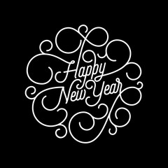 Happy New Year flourish calligraphy lettering of swash line typography for greeting card design. Vector festive ornamental quote New Year text of swirl pattern outline for holiday on black background
