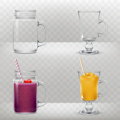 Set of vector illustrations of glass cups for smoothies, cocktails empty and with various drinks with straws for drinking in a realistic style.