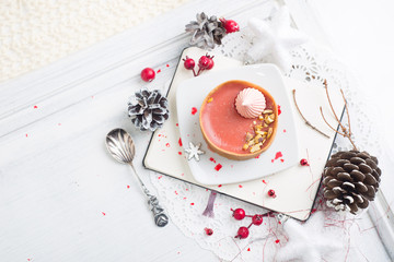 red fruit tart with meringues