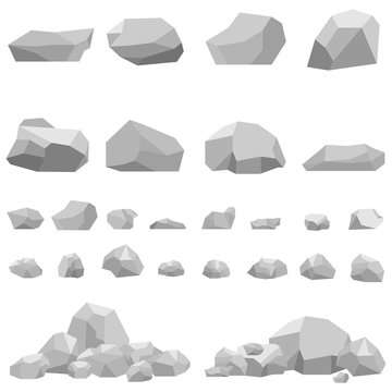 Stones, large and small stones, a set of stones.