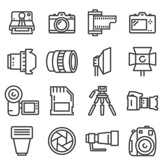 vector line photo icons set