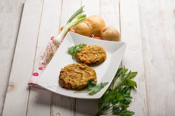 vegetarian hamburger with cheese and potatoes