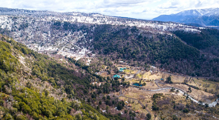 Aerial View of Termas Malalcahuello Hot Springs in the Araucana Region of Chile