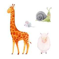 Cute watercolor animal vector set