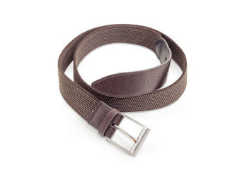 Brown elastic stretch belt on a white background