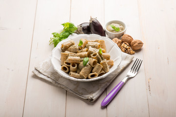 pasta with eggplant pesto nuts and basil