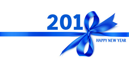 Happy New Year 2018 template design. Vector decorative title 2018 with blue bow and ribbon. Winter holiday decoration isolated on white