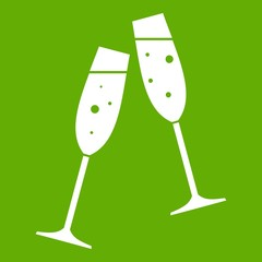 Two glasses of champagne icon green