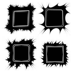 Set the frame for paintings or photos, vector frame form cracks scribble Doodle, pop-art style Speech Bubble boom