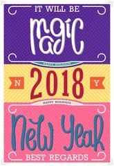 It will be Magic New Year 2018. Best regards. Vintage postcard design. Handwritten lettering. Vector illustration