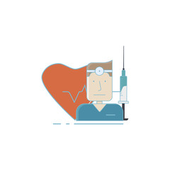 Vector illustration on medical subjects with doctor, heart, syringe
