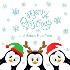 Merry Christmas with snowflakes and three penguins on white background
