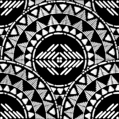 Aztec embroidery pattern design seamless vector. Abstract geometric texture with stitch ornament motif. Tribal print for boho home decor textile, rug, pillow case, blanket, fashion clothing fabric.