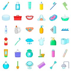 Hygiene icons set, cartoon style
