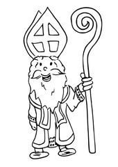 Sinterklaas staat met zijn staf in zijn hand