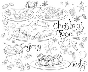 Set with traditional Christmas food isolated on white. Black and white, contour, hand drawn. Lettering phrases included.