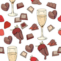 Seamless pattern with glasses of champagne, strawberry and chocolate. Festive endless texture