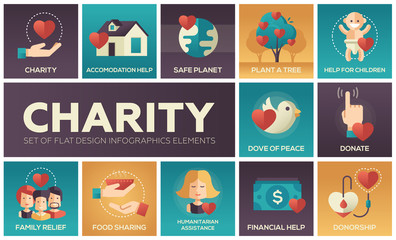 Charity - set of flat design infographics elements