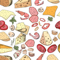 Seamless pattern with pizza and salad ingredients. Endless texture for restaurant and cafe menu, design,decoration.