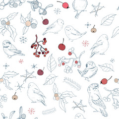 Seamless pattern with different wild winter birds and Christmas symbols. Endless texture with festive elements for season design.