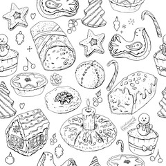 Seamless pattern with christmas pastry. Endless texture for festive design, restaurant and cafe menu, decoration. Black and white.