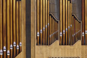 Organ pipe detail on Helsinki rock church. Temppeliaukio