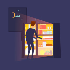 Guy climbed into the refrigerator at night. Flat design vector illustration.