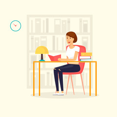 Girl is reading in the library. Flat design vector illustration.