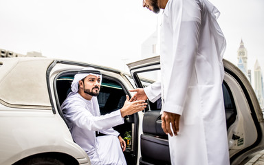 Two arabic business men meeting before trading conference