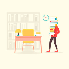 Guy carries a stack of books in the library. Flat design vector illustration.