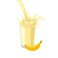Colorful fruit milkshake design. Yellow milky flow and splash in full glass of banana milk shake. Vector illustration cartoon flat icon isolated on white.