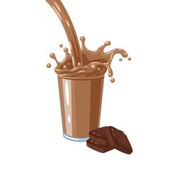 Colorful milkshake design. Choco milky flow and splash in full glass of chocolate milk shake. Vector illustration cartoon flat icon isolated on white.