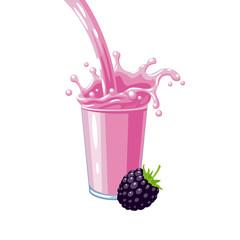 Colorful fruit milkshake design. Pink milky flow and splash in full glass of blackberry milk shake. Vector illustration cartoon flat icon isolated on white.
