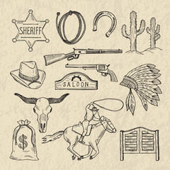 Obraz Monochrome hand drawn illustrations of different wild west symbols. Western pictures set isolate - fototapety do salonu