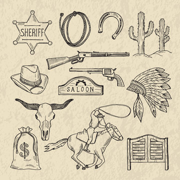Monochrome hand drawn illustrations of different wild west symbols. Western pictures set isolate